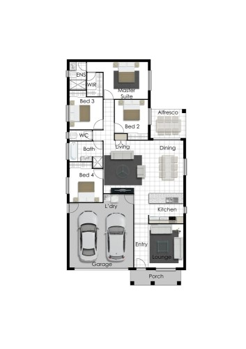 Franklin - Left Floorplan (Raised Porch)