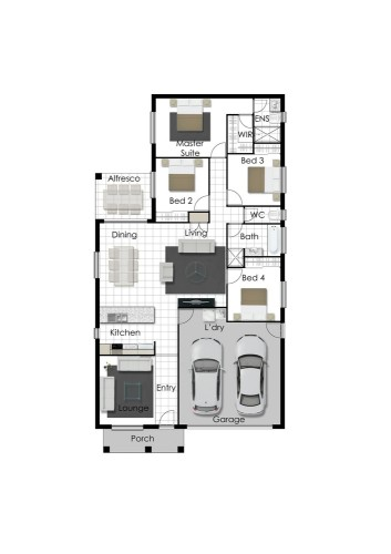 Franklin - Right Floorplan (Raised Porch)